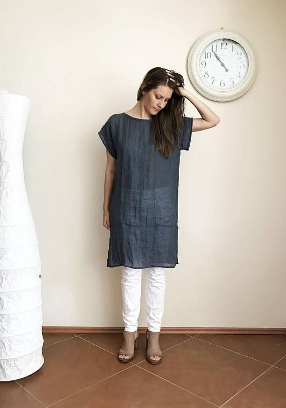 linen tunic with pockets.patchwork linen tunic.handmade linen tunic.casual natural linen tunic M size.boho top