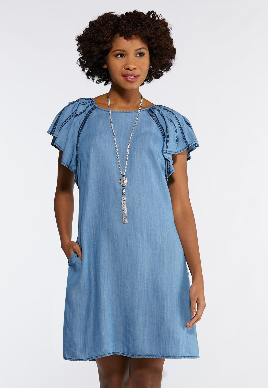 Chambray Flutter Sleeve Dress A- Line & Amp ; Swing Cato ...