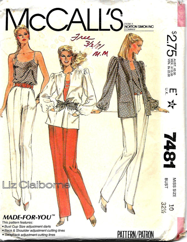McCall\'s 7481 Liz Claiborne Jacket, Camisole & Pants Pattern, Size ...