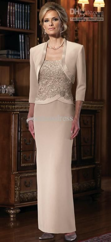 Hot 2017 Satin Column Two Piece Spaghetti Strap Ankle Length Lace Mother Of The Bride Groom Dresses