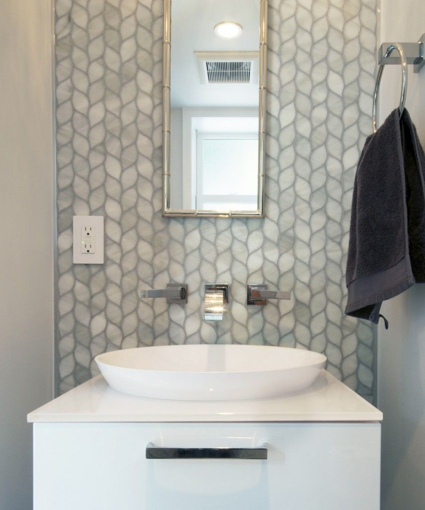 Neutral Colors For Small Powder Rooms: Laurels In Pewter Artistic Glass Tile In 2020