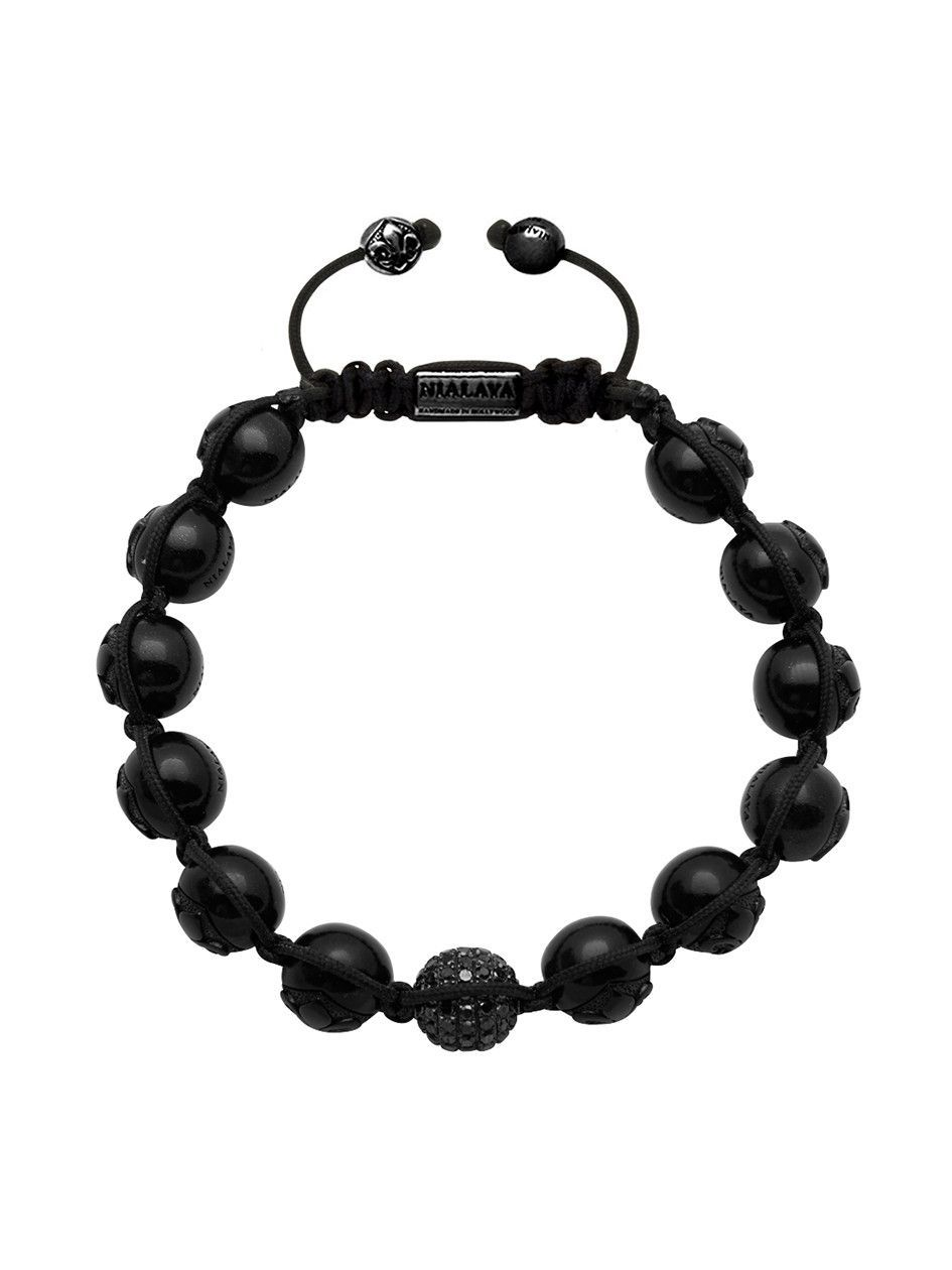 Men's 14K Collection, Black Ruthenium With Pavé Diamond And Matte Onyx | Nialaya Jewelry