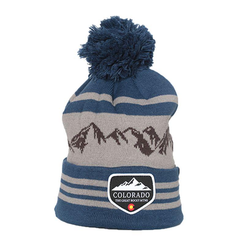 Cirque Mountain Apparel Colorado Beanie Mtns Lines 7081 F16 Blue Grey Mountain Outfit