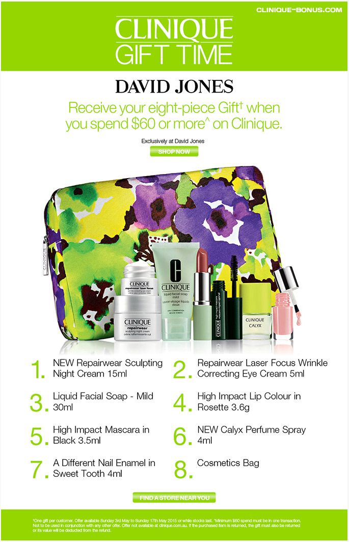 Clinique gift time in Australia at David Jones with AU60