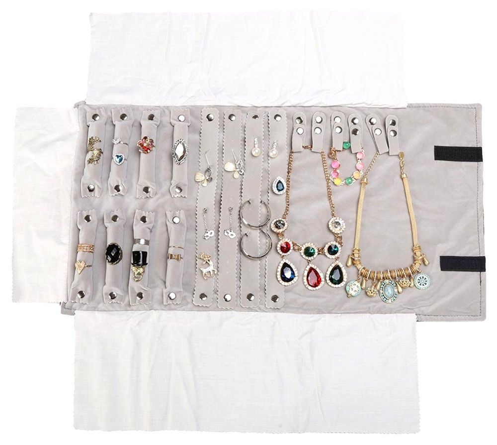Travel Jewelry Roll Up Bag Soft Case Ring Necklace Earring Storage