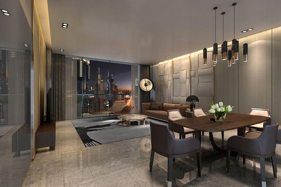 Living room interior proposal for Omniyat apartment blocks in ...