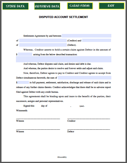 Disputed Account Settlement Agreement  Forms    Template