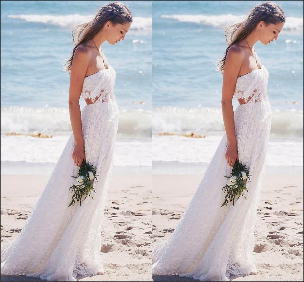 Wedding dresses for a beach wedding  Lace Wedding Dress Sexy Design Hollow Back Beautiful Strapless Long
