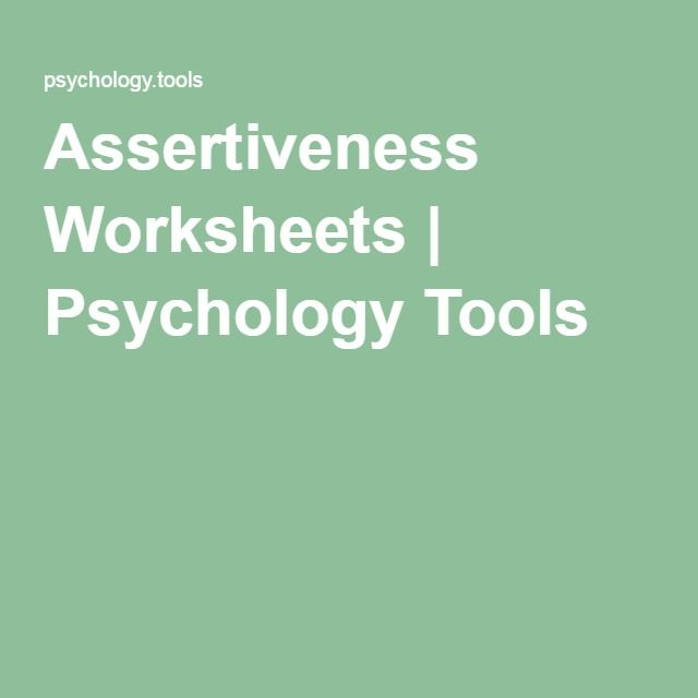 Assertiveness Worksheets | Psychology Tools | Counselling ...