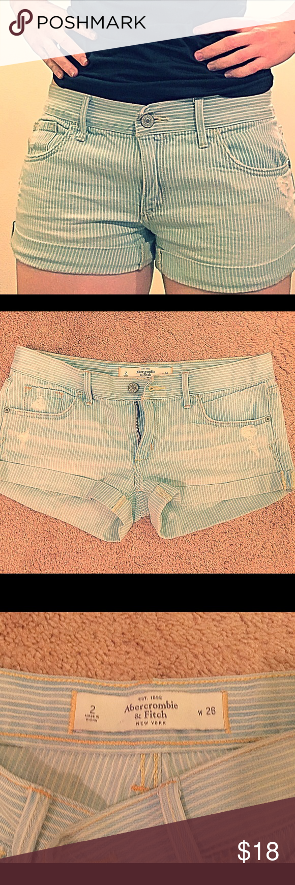 "Abercrombie and Fitch shorts Cute and comfy blue striped Abercrombie and Fitch shorts. Size 2. Length: 10"" Abercrombie & Fitch Shorts Jean Shorts"