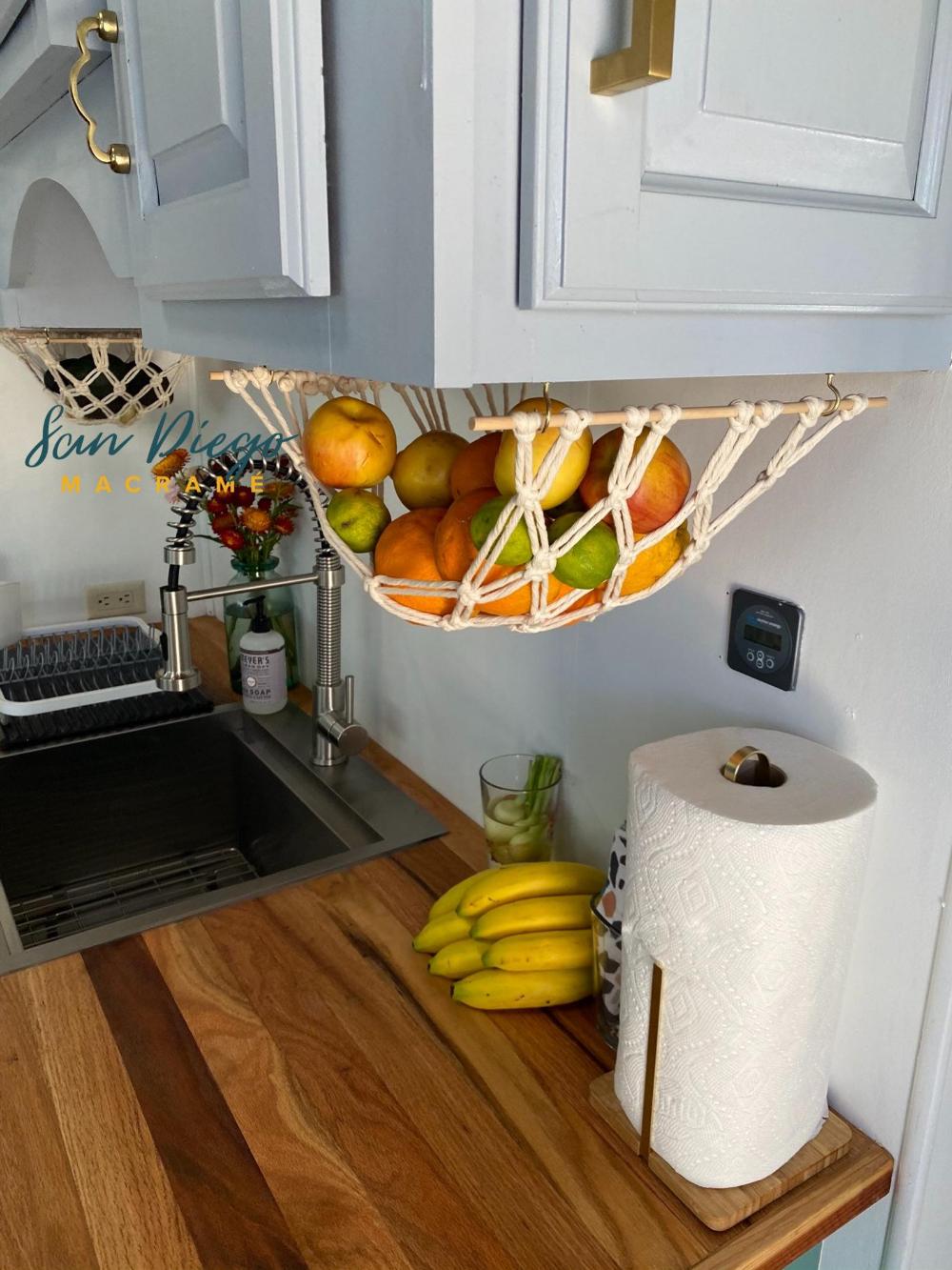 The Original Macrame Fruit Hammock, Hanging Fruit