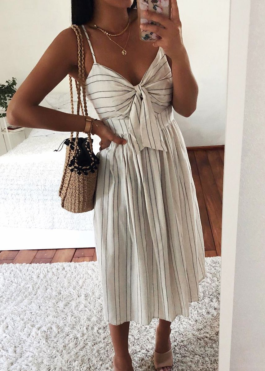 Tie Front Midi Dress in Beige in 24  Fashion, Outfits, Rush outfits