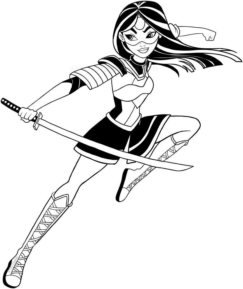 Katana dc superhero girls coloring page to print solid for Katana coloring page
