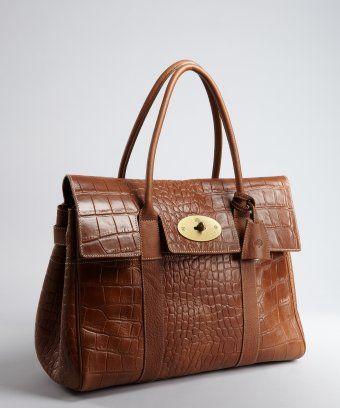 5dabaf6d2e Mulberry : oak croc embossed leather 'Bayswater' large satchel ...