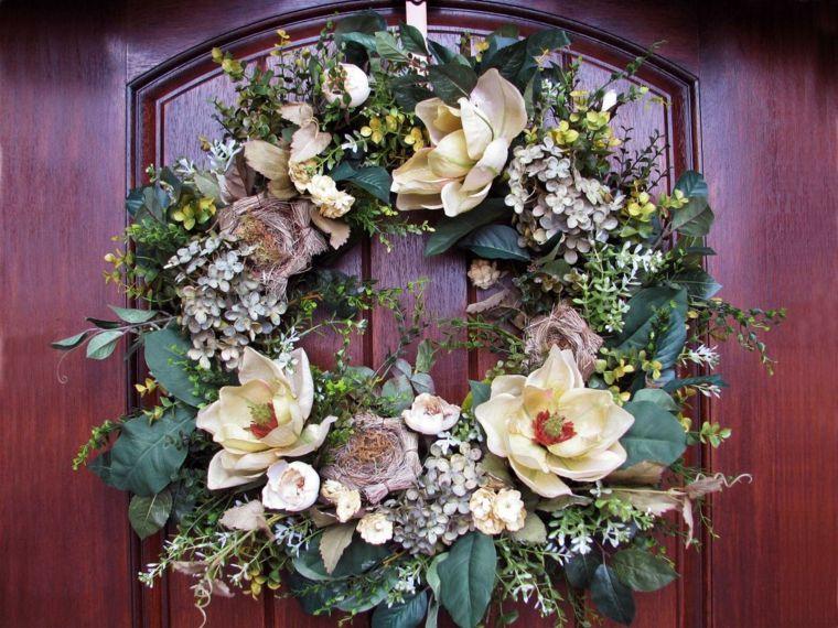 diseño de corona natural de flores Navidad Pinterest - flores secas