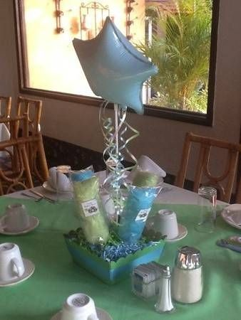 Hermosos centros de mesa para baby shower
