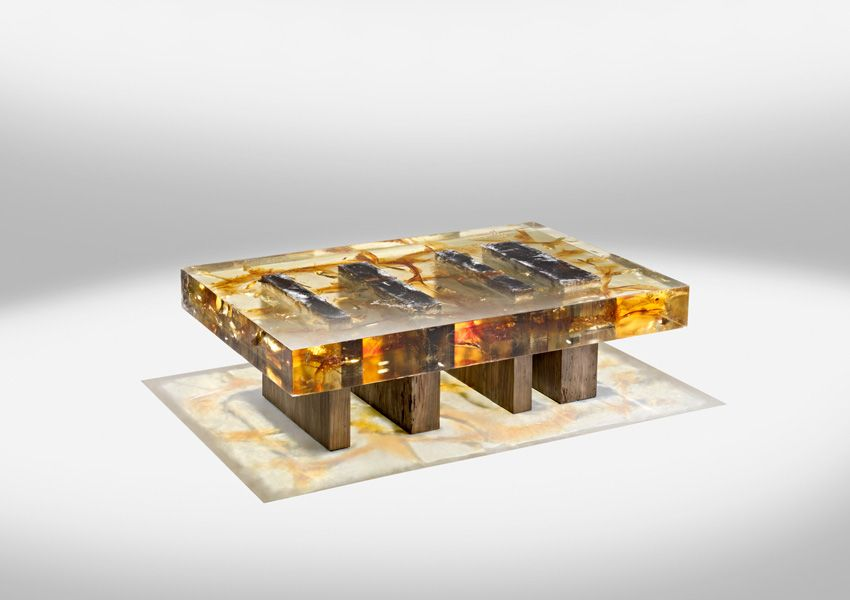 resin furniturenucleo | fossils, coffee and woods