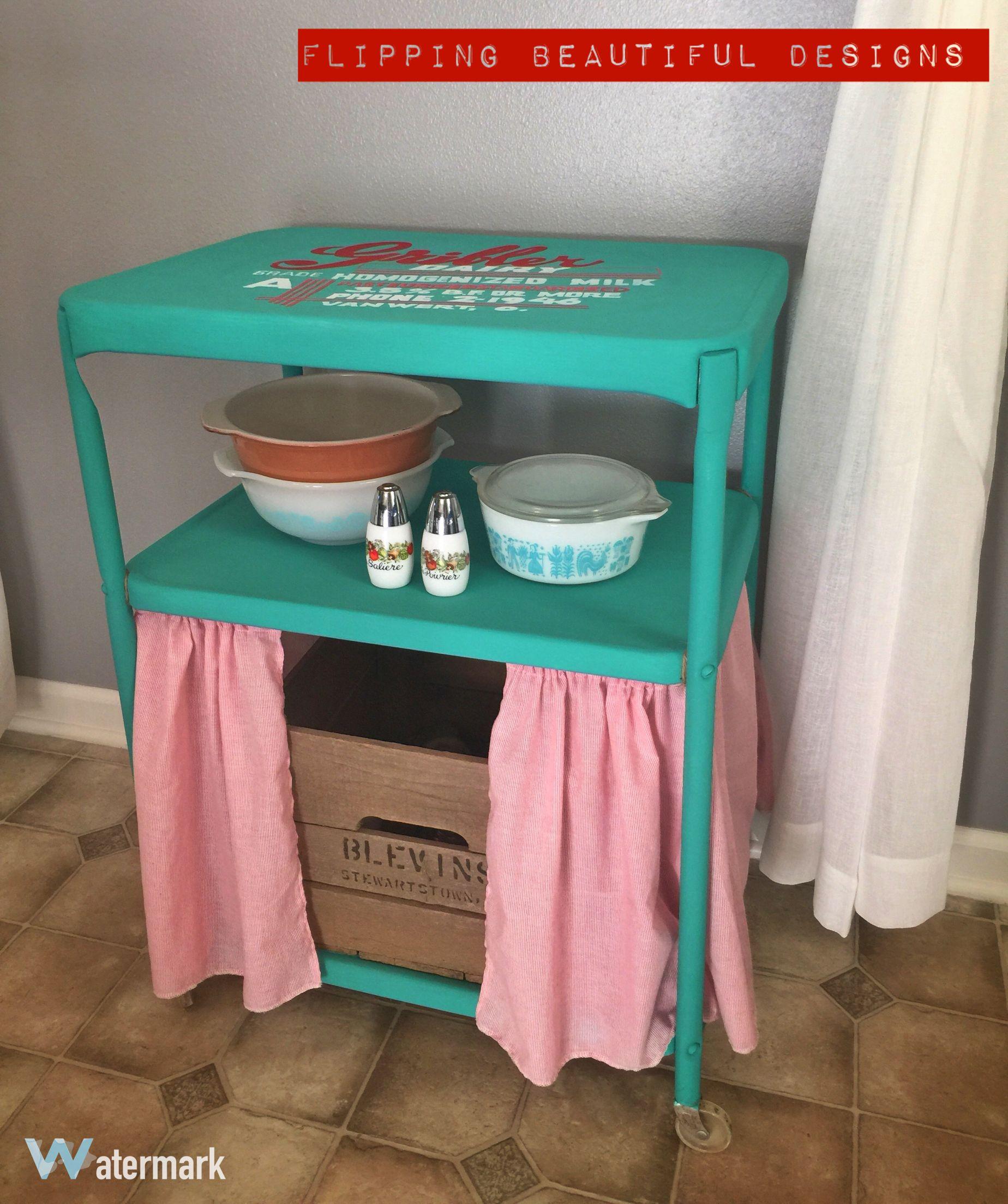 Vintage metal kitchen cart redo. Painted in Annie Sloan Paint! Hand ...