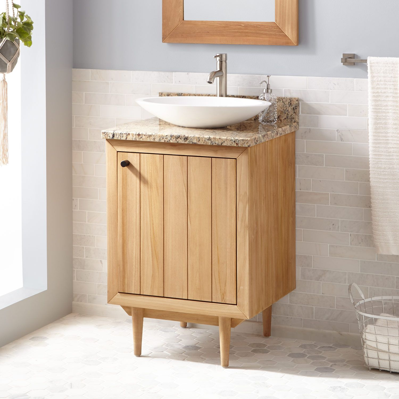 24 Osa Teak Vessel Sink Vanity In Natural Teak Signature
