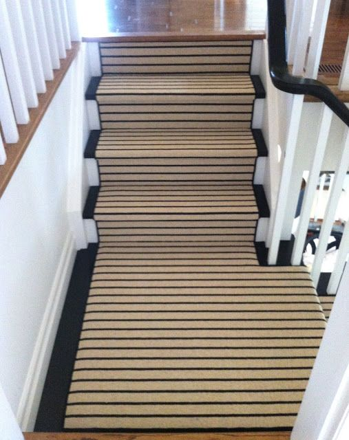 Striped Carpet Runner Moves From Horizontal To Vertical Round