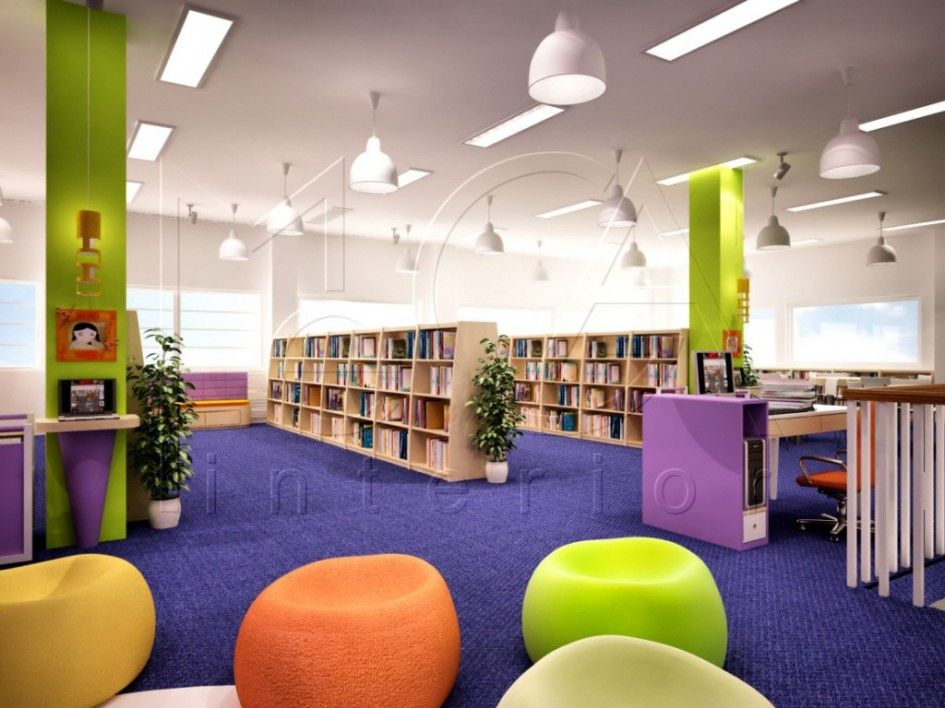Library Design Comfortable Reading Seat With Round Shape Awesome Modern Library Interior Design With Purple Col Library Design Interior Design Modern Library