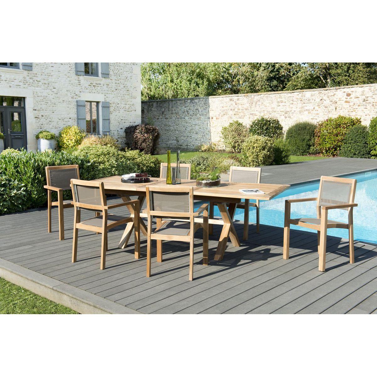 Salon De Jardin Teck Table Extensible 180/240 + 6 Fauteuils ...