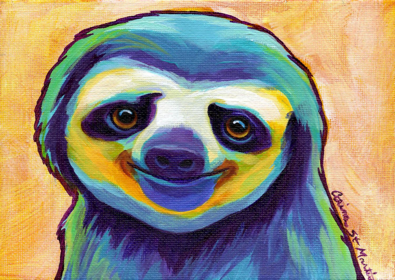 Happy Sloth Canvas Wall Art Choose Your Size By Corina St Martin Sloth Art Sloth Drawing Sloth