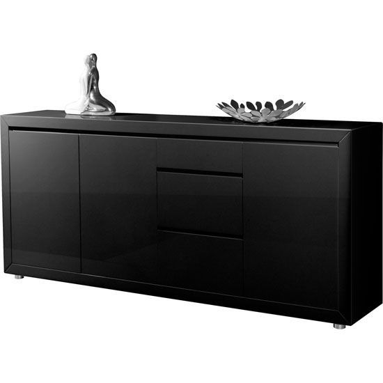 Fino Contemporary Gloss Black 3 Door Sideboard With 3