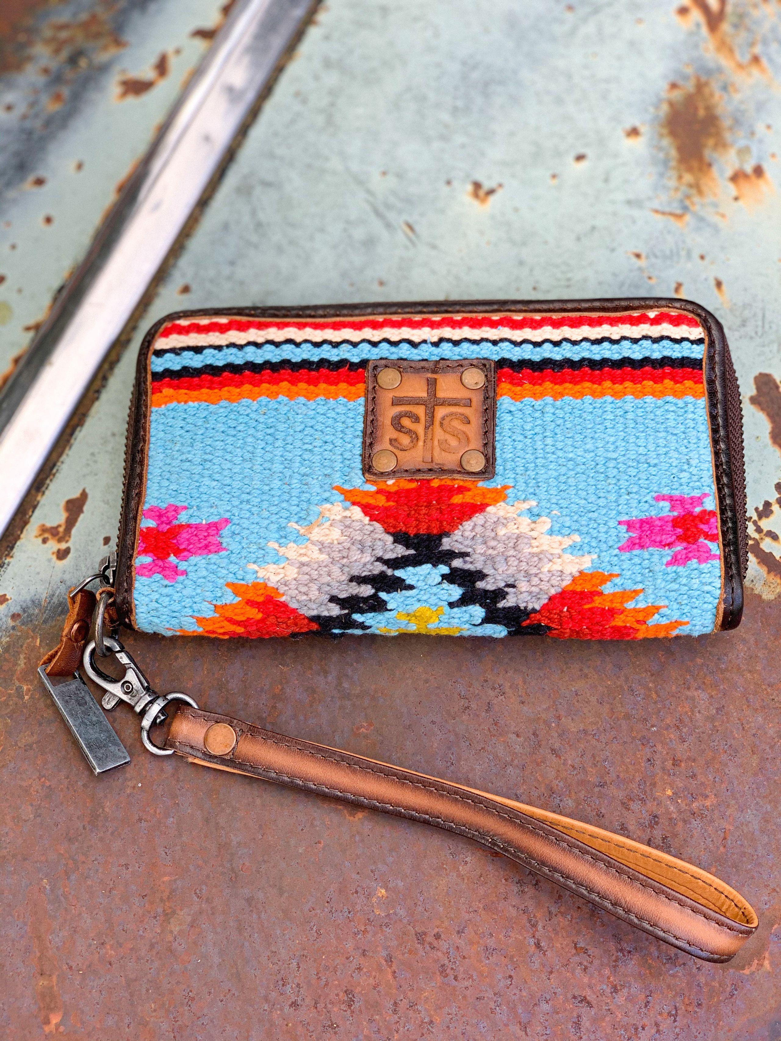 Beige Zipper Aztec Print Wool Coin Purse