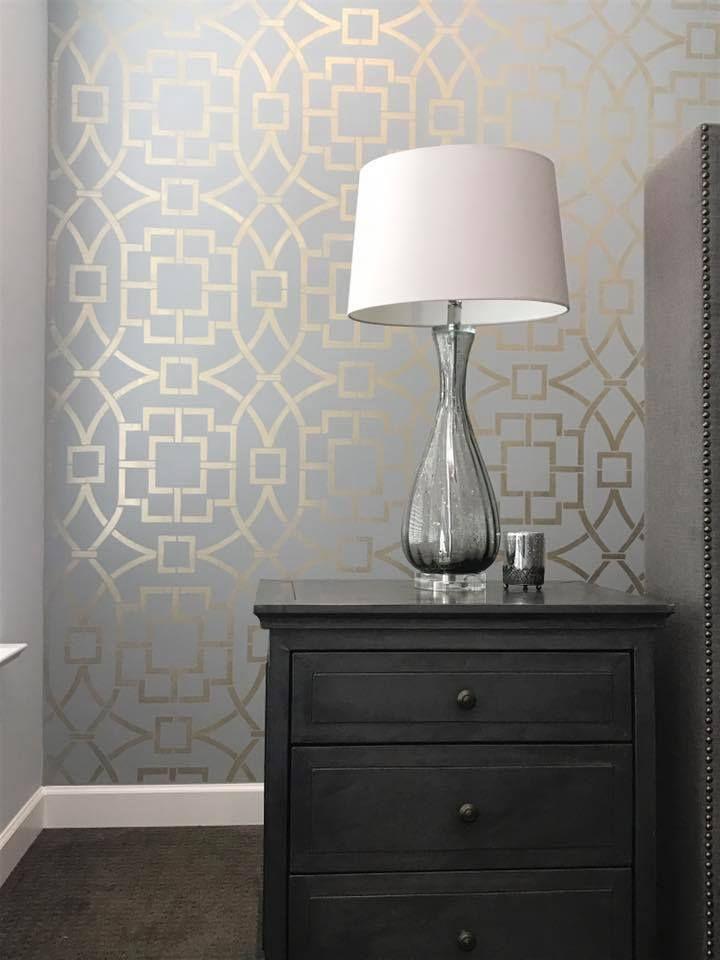 Best Tea House Trellis Wall Stencil In 2020 Bedroom Wallpaper 400 x 300