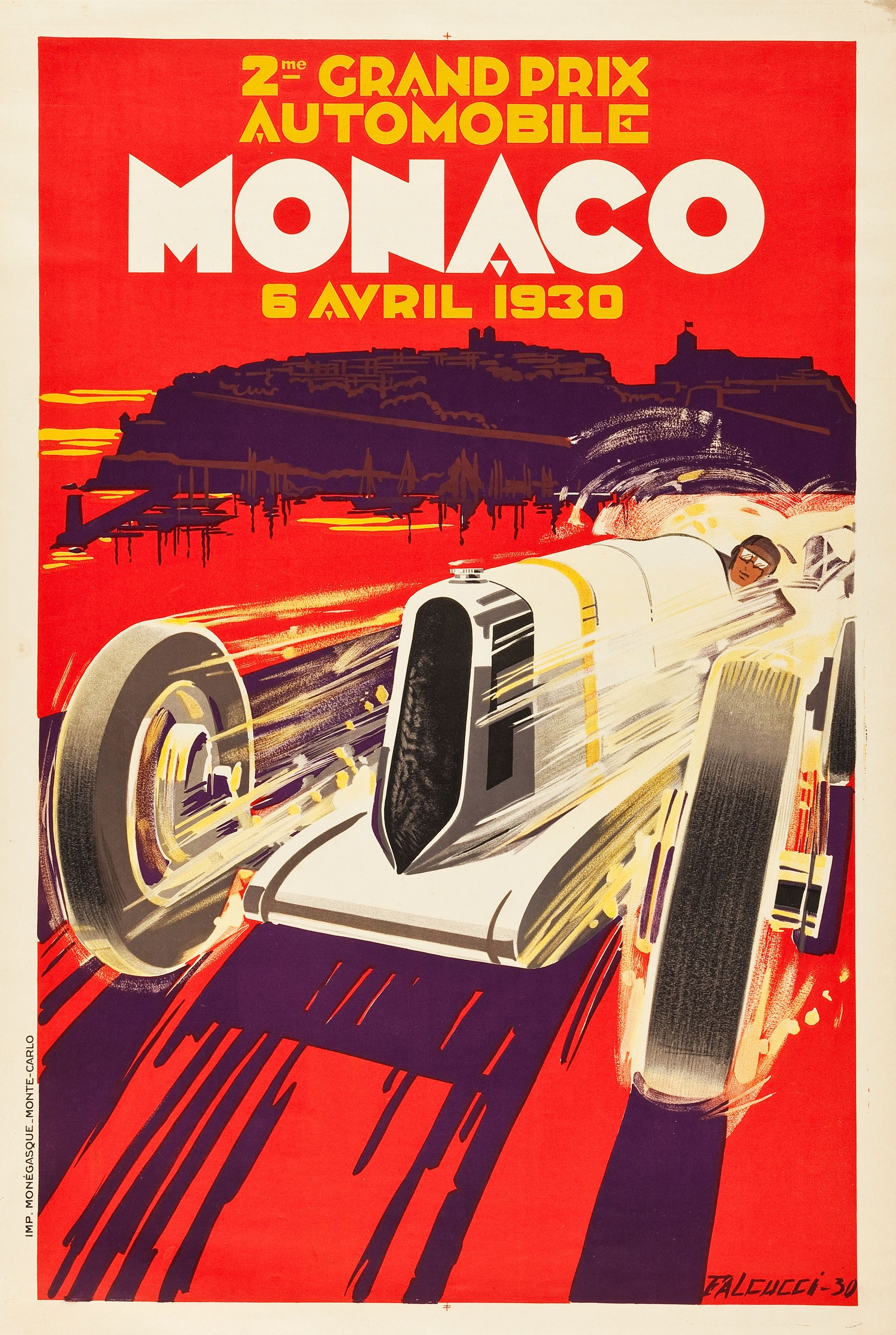 monaco grand prix travel poster automobile club of monaco 1930 auto racing vintage ads. Black Bedroom Furniture Sets. Home Design Ideas