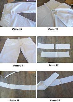 Costura das pernas e laterais da calça de alfaiataria feminina