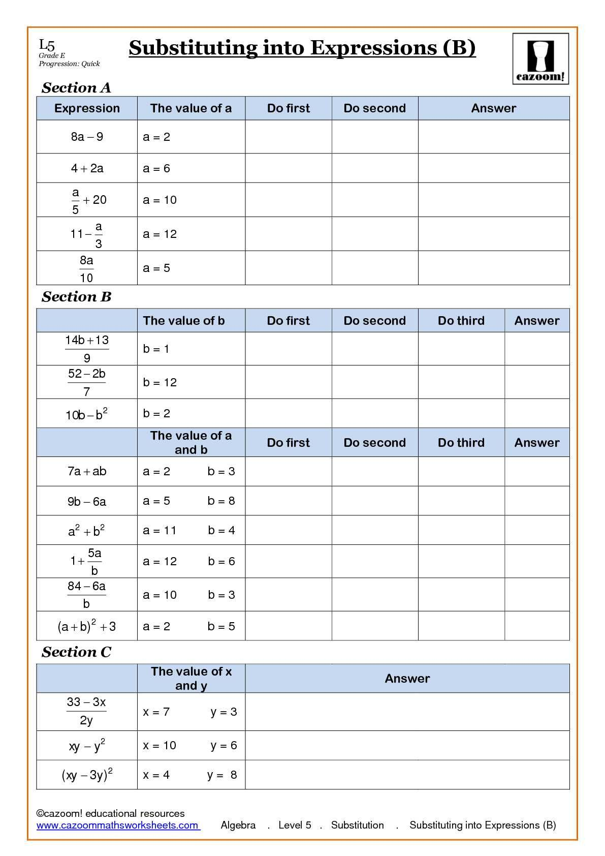 math worksheet : algebra with cazoom maths  algebra worksheets algebra and worksheets : Substitution Math Worksheets