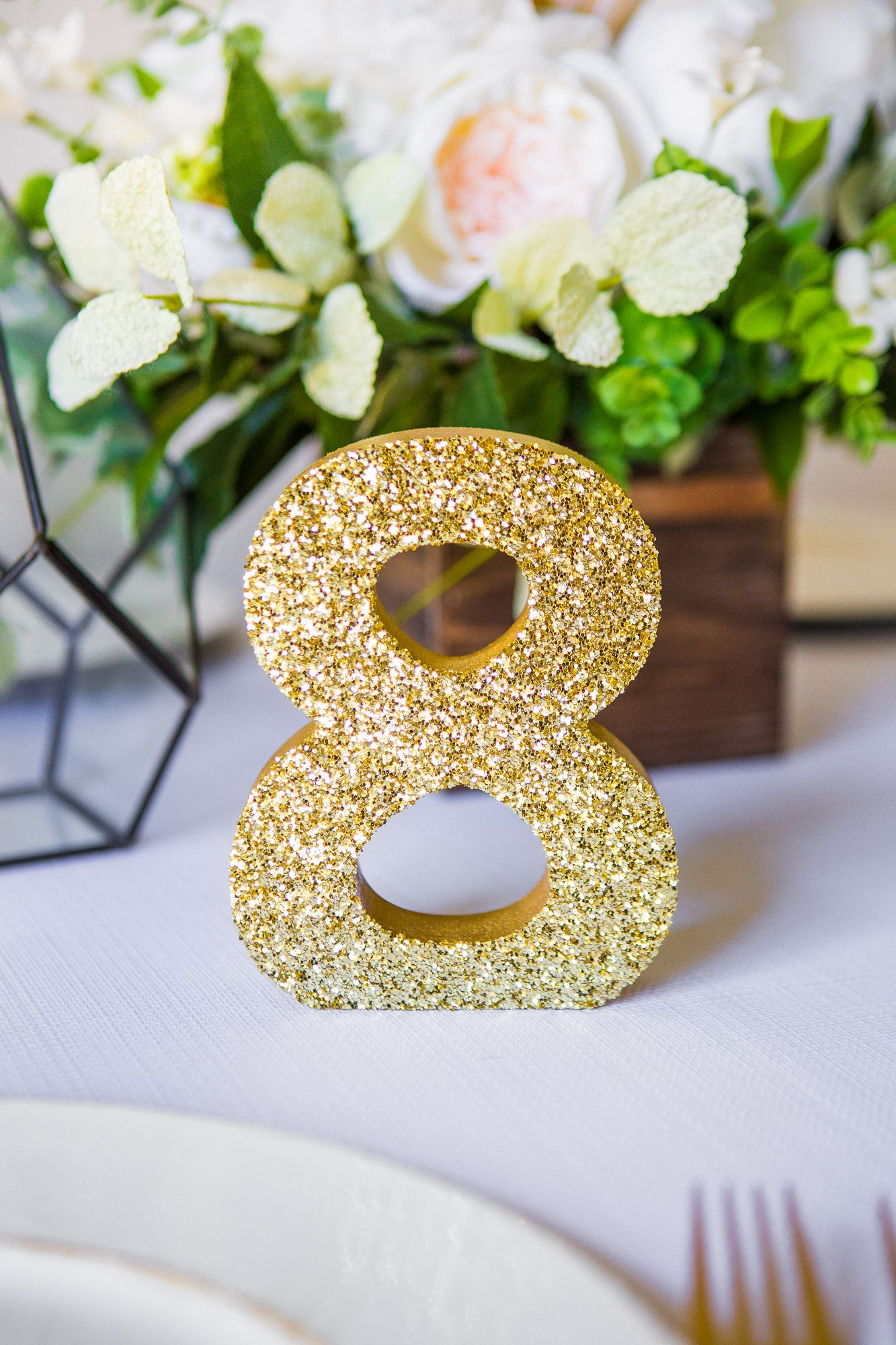 Ways To Wow! Impress your wedding guests with glitter table numbers // Artisan Wedding Decor, Gifts & Accessories by www.ZCreateDesign.com or Shop ZCreateDesign on Etsy by Clicking Pin