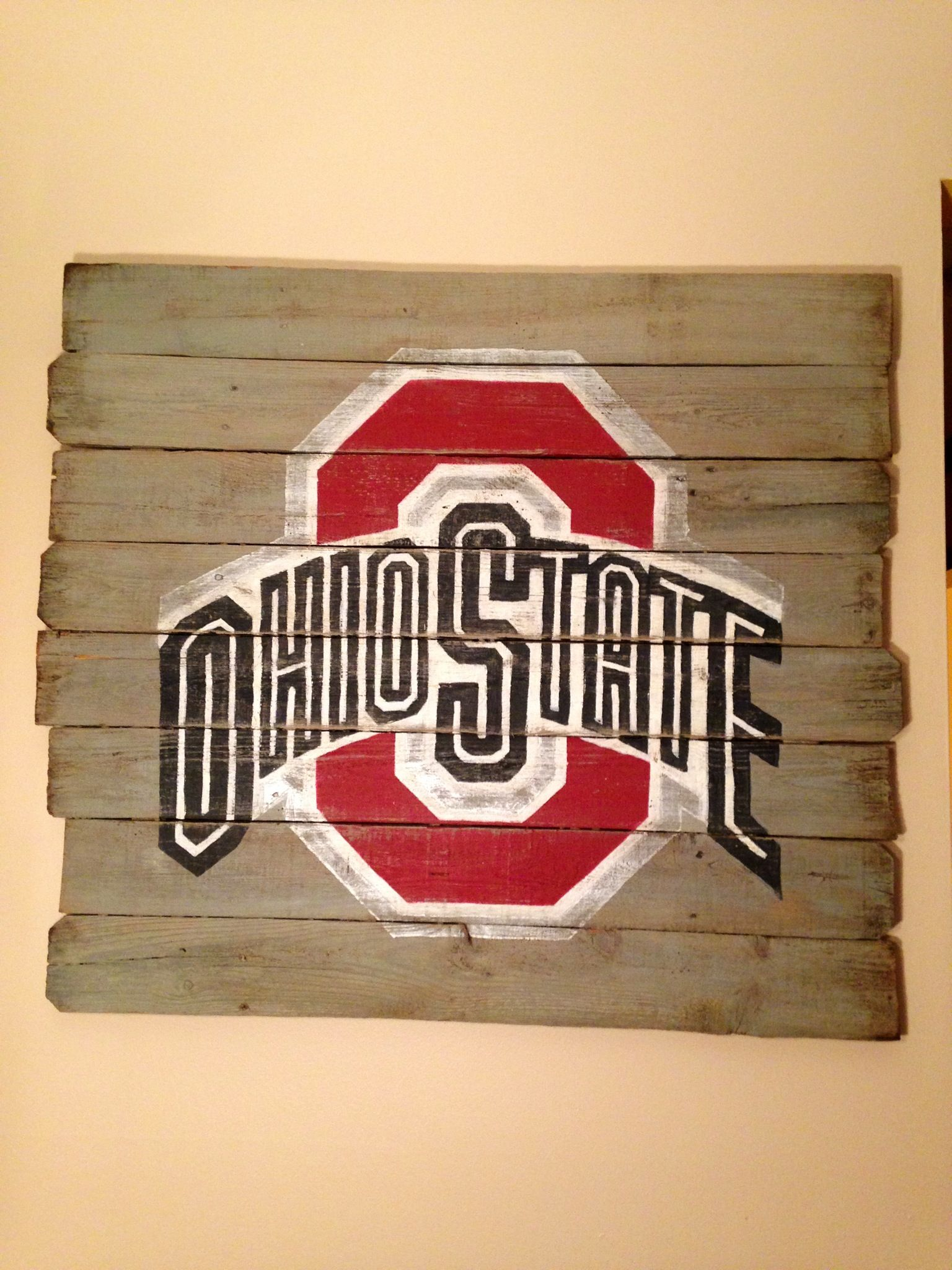 Ohio State wall hanging. Hand painted on reclaimed wood. $45 -on ...