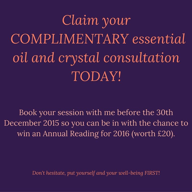 O:) O:) ESSENTIAL OILS AND CRYSTALS O:) O:)  Anyone who books a consultation with me, before the 30th December 2015 will be entered into a prize draw to win an Annual Reading worth £20.00 for 2016.  There are limited spaces left, so get in QUICK.  Love and blessings  Nikki xx  #mysticcorner #essentialoilandcrystals #consultations #prizeddraw