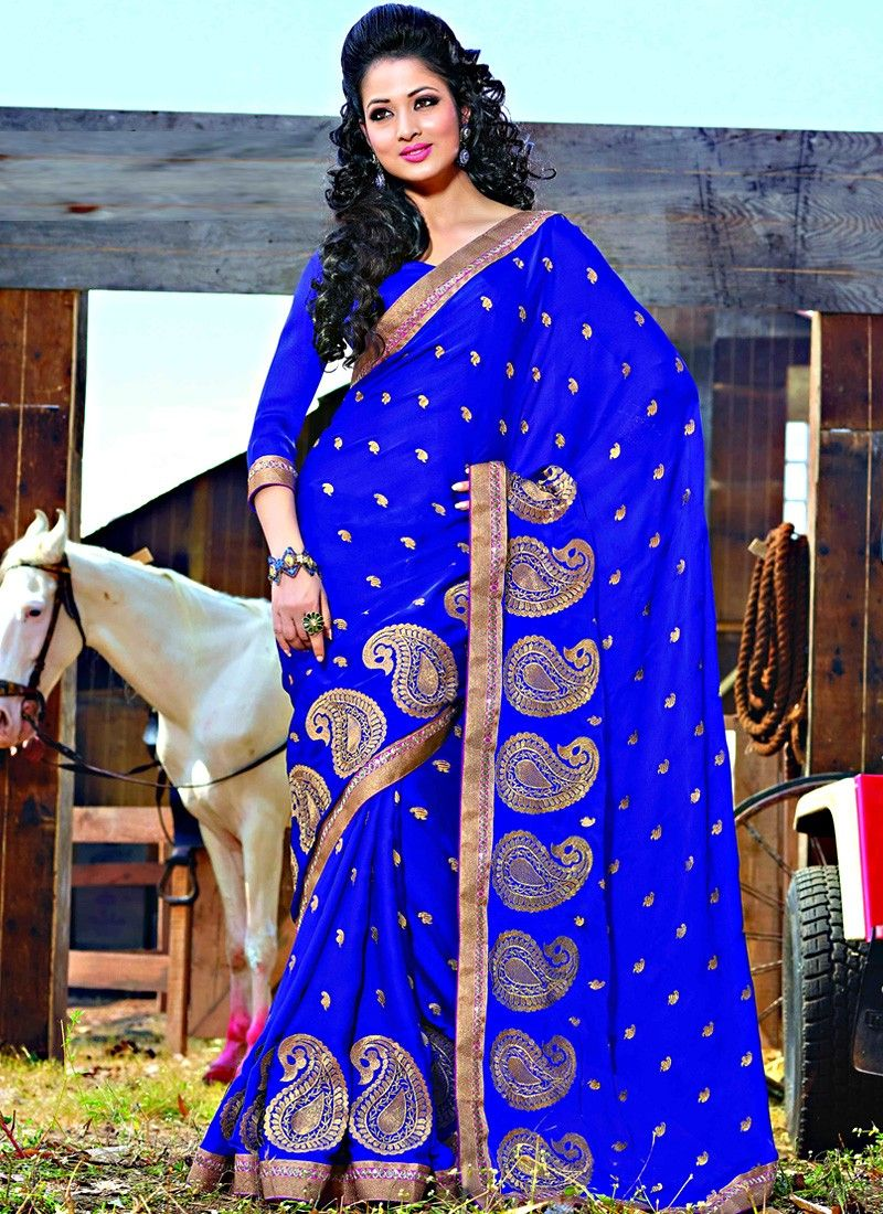 Item :#3695 Shop this product from here.. http://www.silkmuseumsurat.in/blue-embroidered-chiffon-saree?filter_name=3695   Color	 : Blue Fabric	 : Faux Chiffon Occasion	 : Party, Reception Style	 : Contemporary Work	 : Embroidered