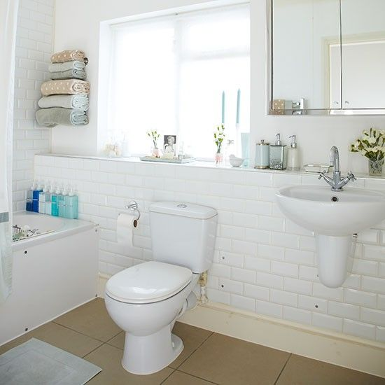 traditional bathroom with white metro tiles