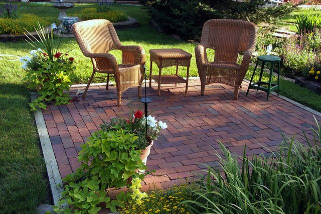 Could do this in the way back since the deck isn't large enough for most  patio furniture. - Backyard Garden Pinterest Brick Patios, Patios And Bricks