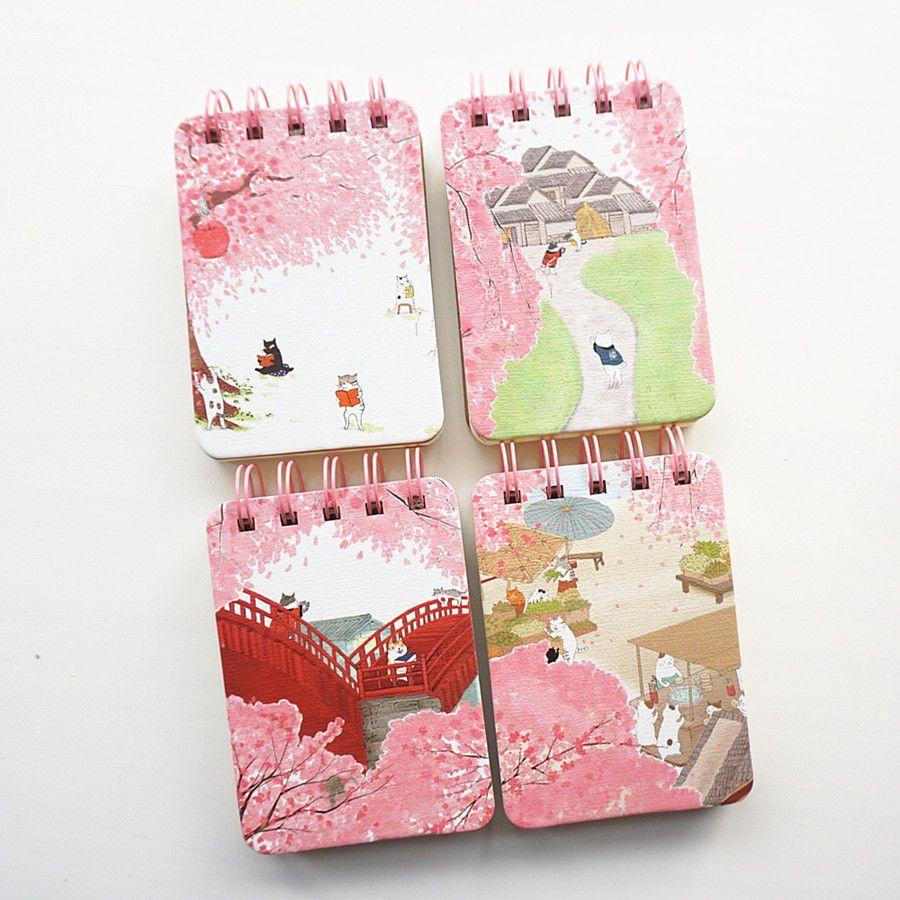 Sakura Cat Pocket 1pc Cute Small Mini Diary Notebook Memo Pad