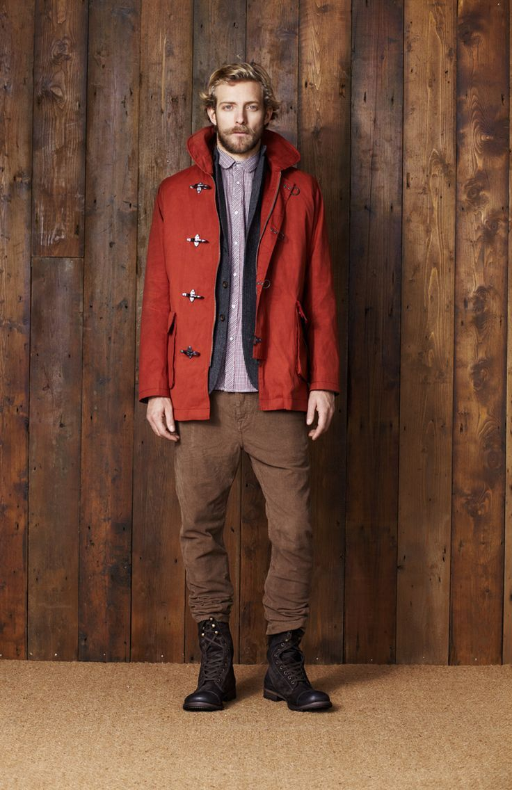 Men's Red Duffle Coat, Charcoal Cardigan, Light Violet Long Sleeve ...