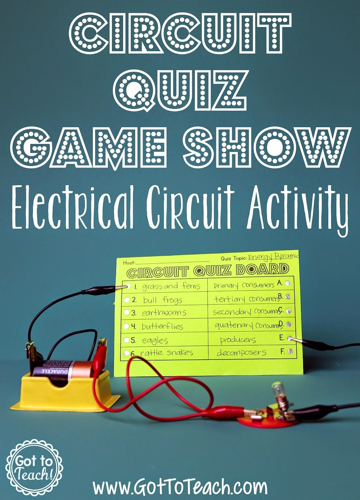 Electrical Circuit Game Show Lesson 4th 5th Grade Science Project