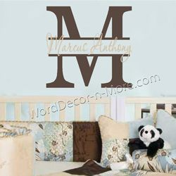 kids monogram wall art decal personalized wall monogram wall decal