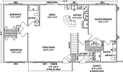 Ranch floor plans open concept mankato ii by wardcraft Open concept ranch home plans