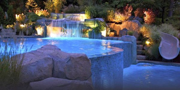 Two Tiered Pool Shapes And Designs With Fake Waterfall Jpg 600