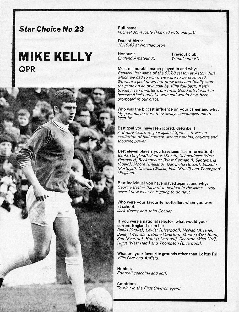 Circa 1968. Star Choice No. 23 Queen's Park Rangers