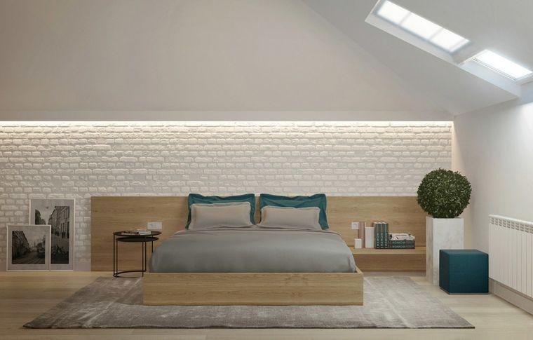 Pareti In Legno Moderne : Camera da letto in mansarde moderne con parete con mattoni