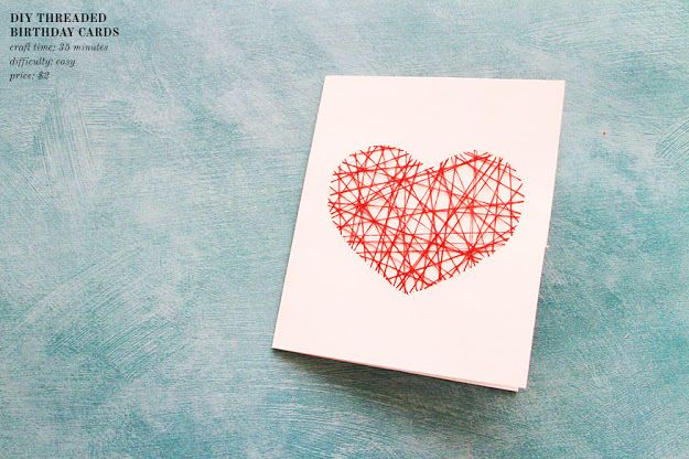 DIY | string heart card. Love this idea for a diy Valentines Day card