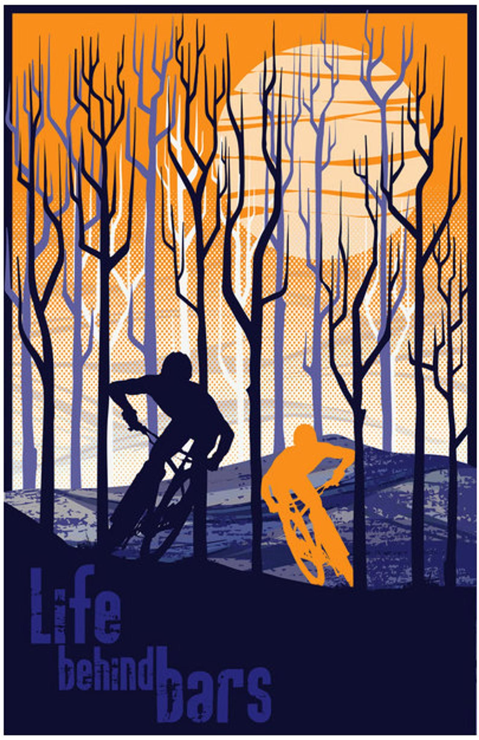 Retro Vintage Mountain Bike Illustration Poster Print 11x17 Etsy Vintage Mountain Bike Mountain Bike Art Bike Poster