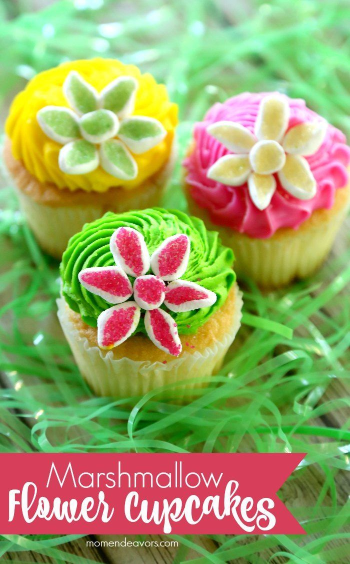 Easy Marshmallow Flower Cupcakes - these are so easy to make and perfect for spring events (garden party, bridal or baby showers, Easter, Mother's Day, and more)!